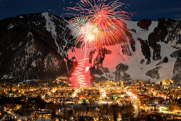 Fireworks image from Aerial View at Snowmass