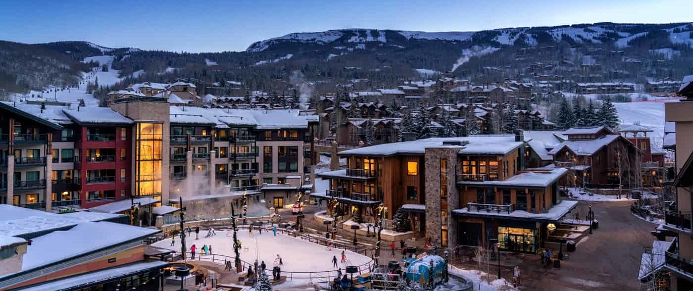 Snowmass Base Village in the winter